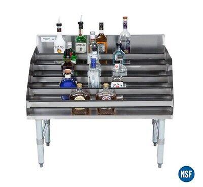 36 Five-tiered Stainless Steel Bar Liquor Display Rack 23 Deep Speed Rail