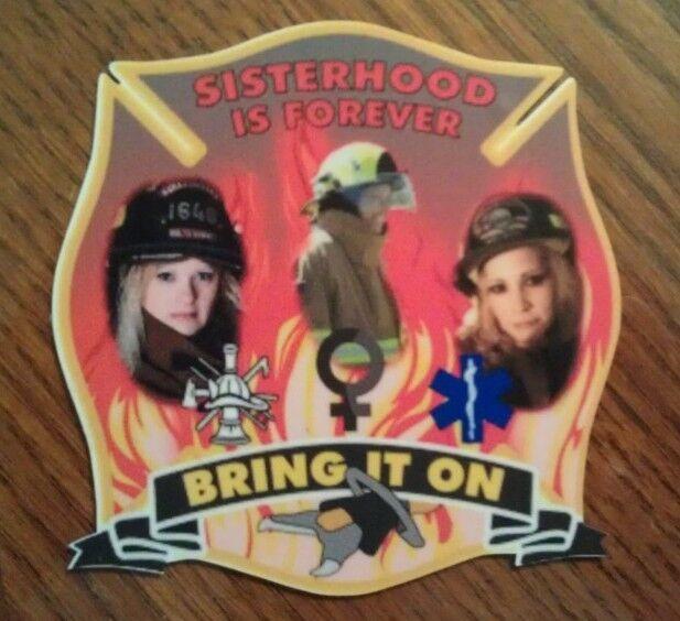 "Female Firefighter Sisterhood Fire Rescue Decal Contour Cut 4"""
