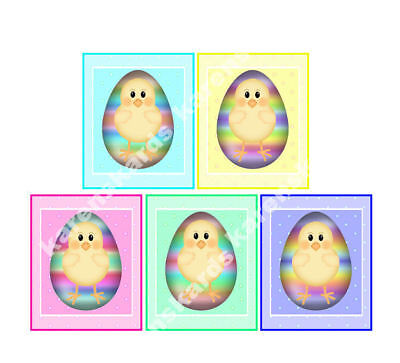 EASTER CHICKS Crafting Card Toppers Embellishments in a lager size x 5 (8 x 6 cm