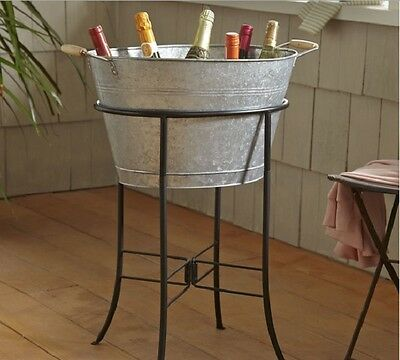 Beverage Tub With Stand Galvanized Steel Finish Metal Drink Ice Cooler Bucket