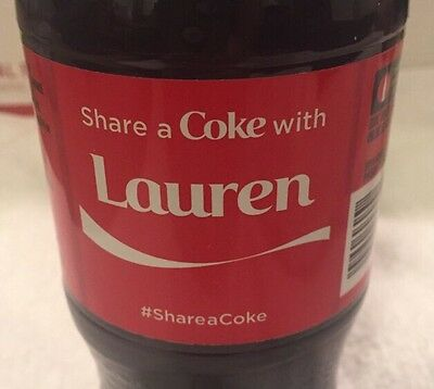 Share a COKE with Lauren 20 fl oz Collectible Bottle RARE Coca-Cola  10/26/15