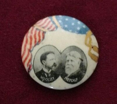 """Rare 1900 Prohibition Party Political Campaign Pin Jugate Woolley Metcalf 1"""""""