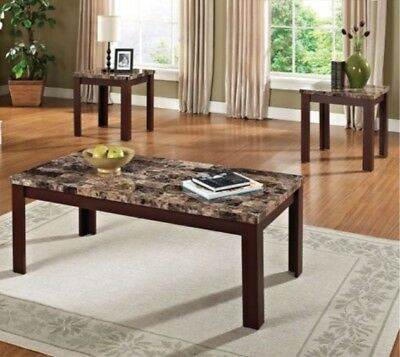 Coffee and End Table 3 Piece Faux Marble Set Brown Cherry 2 Accent Tables (NEW!)