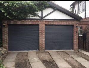 Anthracite grey ral 7016 Gliderol single skin manual roller shutter garage door