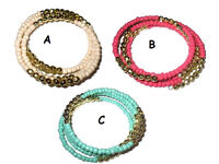 Twisted beaded bracelet assorted colours - JTY159