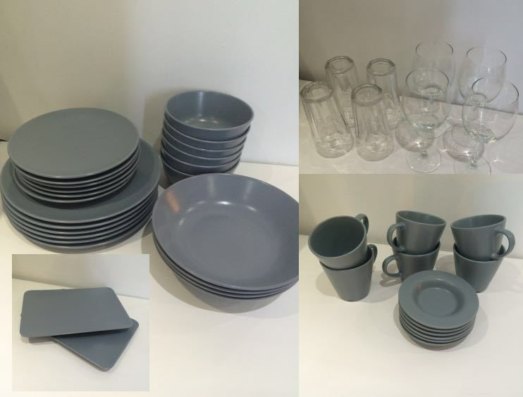 ikea dinera dining tableware plates glasses vase etc several sets complete in hoxton. Black Bedroom Furniture Sets. Home Design Ideas