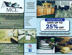 MCL offering  home renovations, landscaping fences, decks more..