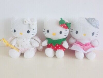 HELLO KITTY BUNDLE SMALL TY PLUSH X  3 COLLECTABLE vgc KITTIES kawaii Angel