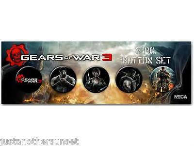 SDCC Button Badge Pin set of 5 GEARS OF WAR 3 Cosplay Marcus Dominic Anya New