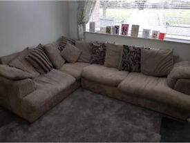 DFS Mink Beige Corner Sofa with Scatter Back Cushions
