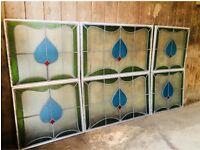 Vintage Stained Glass Window Panels Fan Lights
