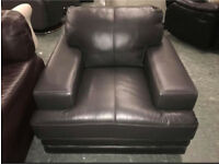 DFS chocolate brown leather Armchair