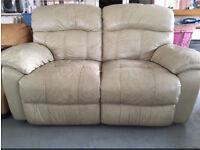 Cream beige manual recliner sofa