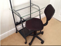 Glass top shelf with swivel chair