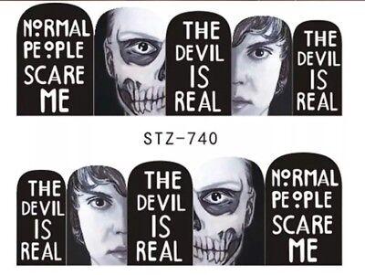 Creepy Halloween Nails (Halloween Nail art Wraps water decals Creepy Satanic Nail)