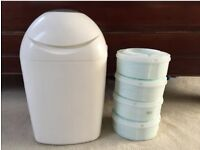 Tommee Tippee Sangenic nappy disposal bin and x4 refills