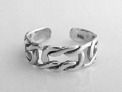Sterling Silver square knots dainty size small adjustable toe ring