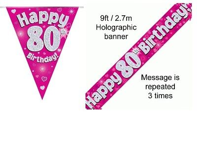 80th BIRTHDAY PINK FOIL BANNERS AND BUNTING ****OFFER BOTH ITEMS FOR - 80 Items For 80th Birthday