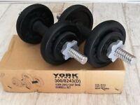 York Fitness 20kg Cast Iron Dumbbell Set