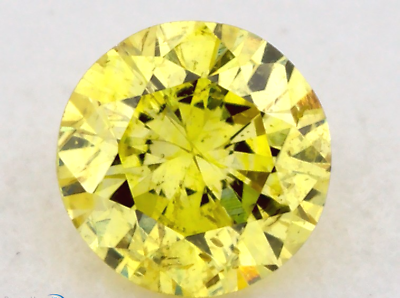 0.11 CT FANCY INTENSE YELLOW COLOR ROUND GIA CERT LOOSE DIAMOND TAXFREE Gift