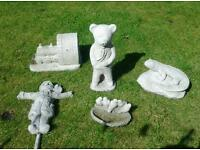 Five stone garden ornaments