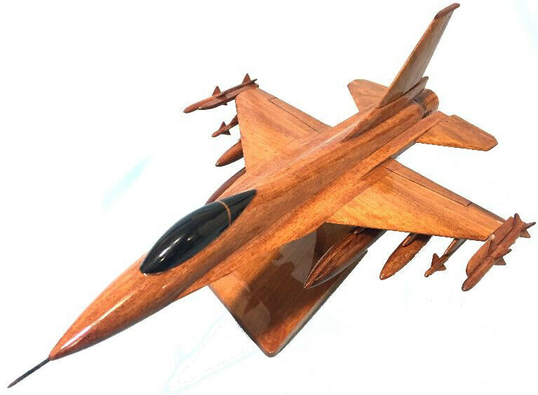 F16 Falcon NATURAL WOOD AIRPLANE MODEL -W- Personalized Plaque