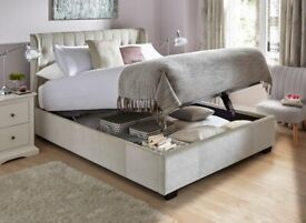 Sana Upholstered Ottoman Bed Pearl Chenille - 5' King - Rarely used