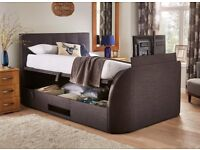 Evolution Fabric Grey Kingsized Bed frame with build in LG LED TV