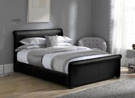 Black faux leather bed frame - double bed - excellent condition