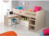 Kids Cabin Bed with Cupboards and Pull Out Desk for sale