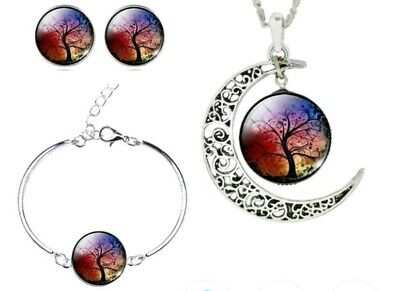 Colorfull life tree art Cabochon Glass Necklace /chain, Bracelet, Earrings moon