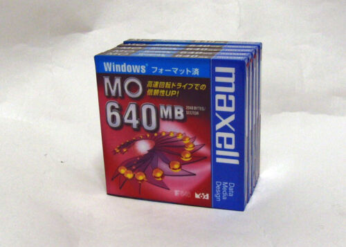 5x Unopened maxell 3.5inch 640MB Rewritable MO Disk (Windows formatting)