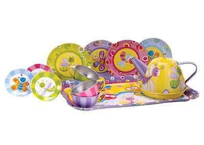 Tea Party Set For Girls Play Kids Teapot Pot Cups Saucers Plates Tin Colorful