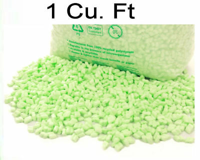 1 Cu Ft Flo-pak Green Polystyrene Packing Peanuts Chips Void Fill