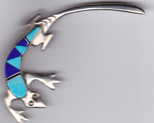 Vintage Turquoise and Lapis Silver Gecko Brooch
