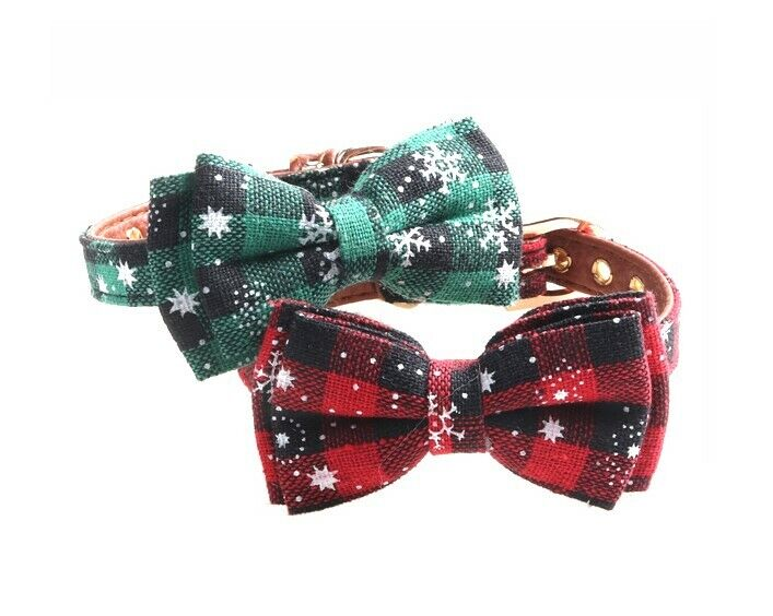 Plaid Dog Cat Leather Collar – Pet Bow tie Removable Snowflake Collars