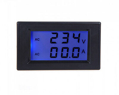 Digital Ac100-300v 0-100a Blue Lcd Display Panel Voltamp Meter With Ct