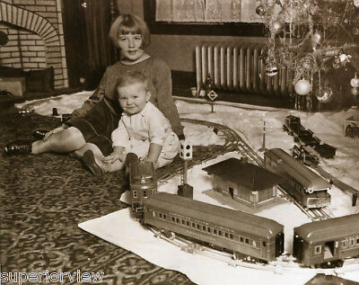 Early Lionel Train Set at Christmas Vintage Trains Track Around Tree Railroad