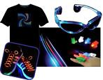 LED Pakket LED T-shirt bril+ veters+vingerlampjes.