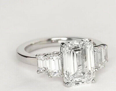 Stunning 2.90 ct. 5 Stone Emerald Cut Diamond Engagement Ring J, VS2 14k GIA