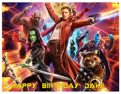 GUARDIANS OF GALAXY THE PERSONALISED EDIBLE BIRTHDAY CAKE TOPPER A4/CIRCLE ](Galaxy Birthday Cake)