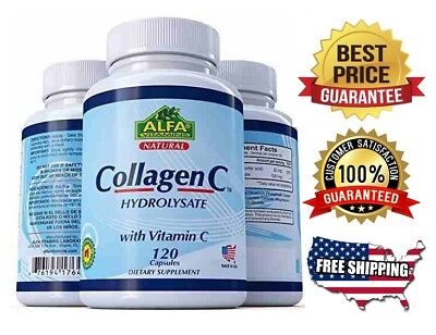 COLLAGEN ColagenoALFA Hydrolysate with Vitamin C  ANTIANGING Colageno 120 tabs