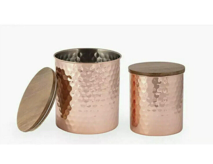 Uncommon James Hammered Copper Canister Med + Large 2 piece Set NIB SHIPS FREE