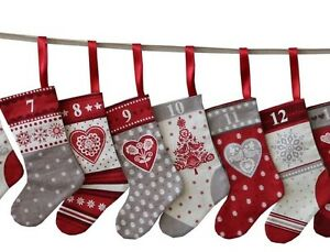 Scandi Christmas Mini Stockings Advent Calendar Bunting PANEL on Cotton Fabric