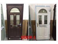 Rosewood/White Glazed Composite doors (x2)