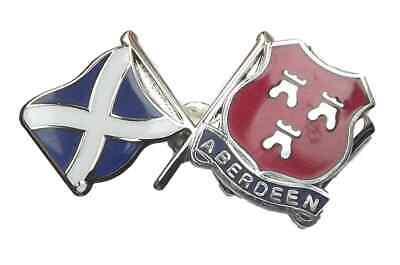 Scotland Saltire & Aberdeen City Crest Friendship National Enamel Lapel Badge