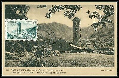 ANDORRA MK 1956 SANTA COLOMA KIRCHE CHURCH MAXIMUMKARTE MAXIMUM CARD MC CM bg27