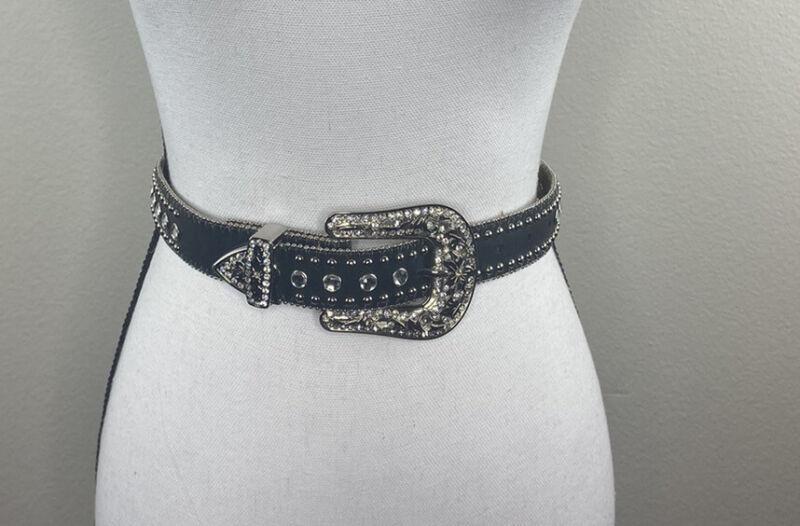 Nocona Girls Black Leather Belt Horses Rhinestones Rodeo Western Cowboy Size S