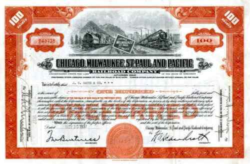 1937 Chicago Milwaukee St Paul & Pacific RR Stock Certificate