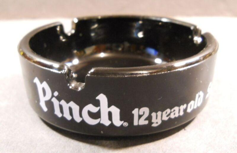 Vintage Haig & Haig Pinch 12 Year Old Scotch Whiskey Black Glass Ashtray